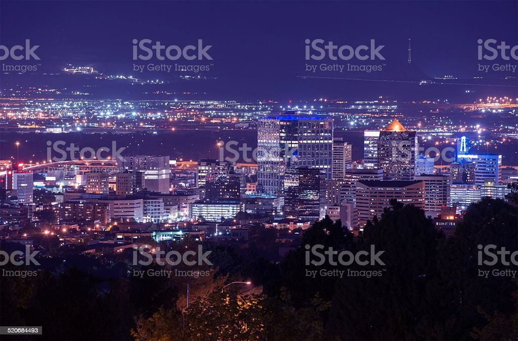 Salt Lake City Night Scenery stock photo