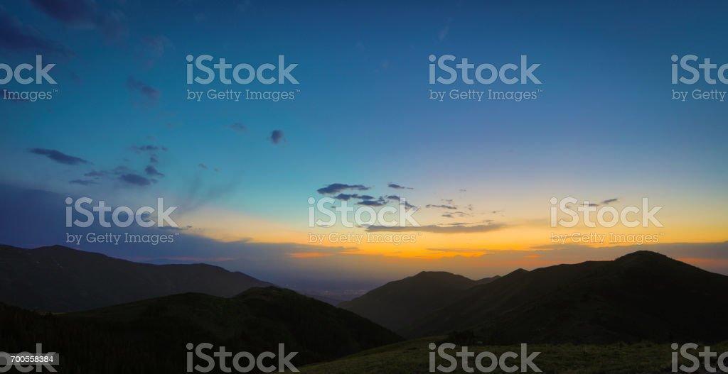 Salt Lake City on top of mountains stock photo