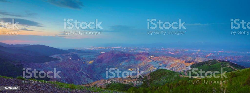 Salt Lake City over copper mine stock photo