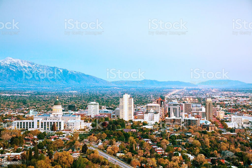 Salt Lake City panoramic overview stock photo