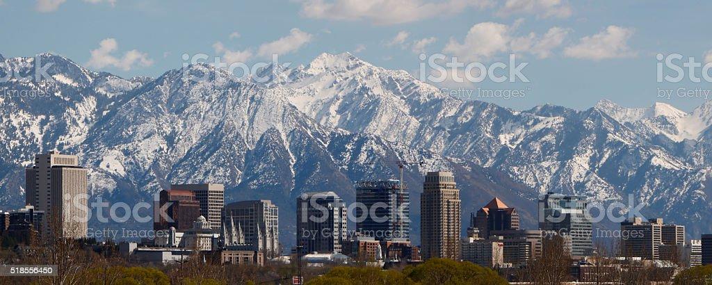Salt Lake City panoramic stock photo
