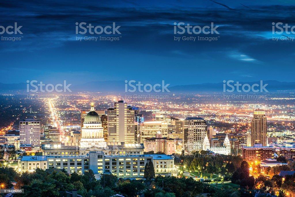 Salt Lake City Skyline at dusk stock photo
