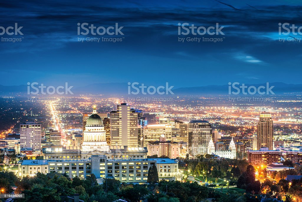 Salt Lake City Skyline at dusk stock photo