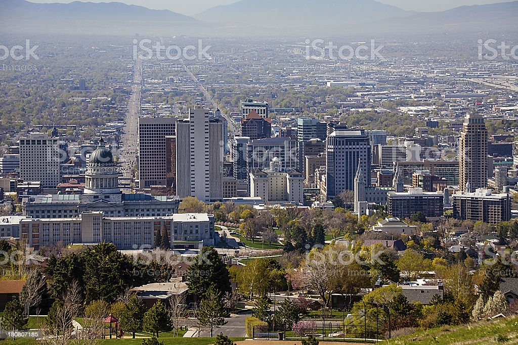 Salt Lake City Skyline, Extreme High Angle from North Bench royalty-free stock photo