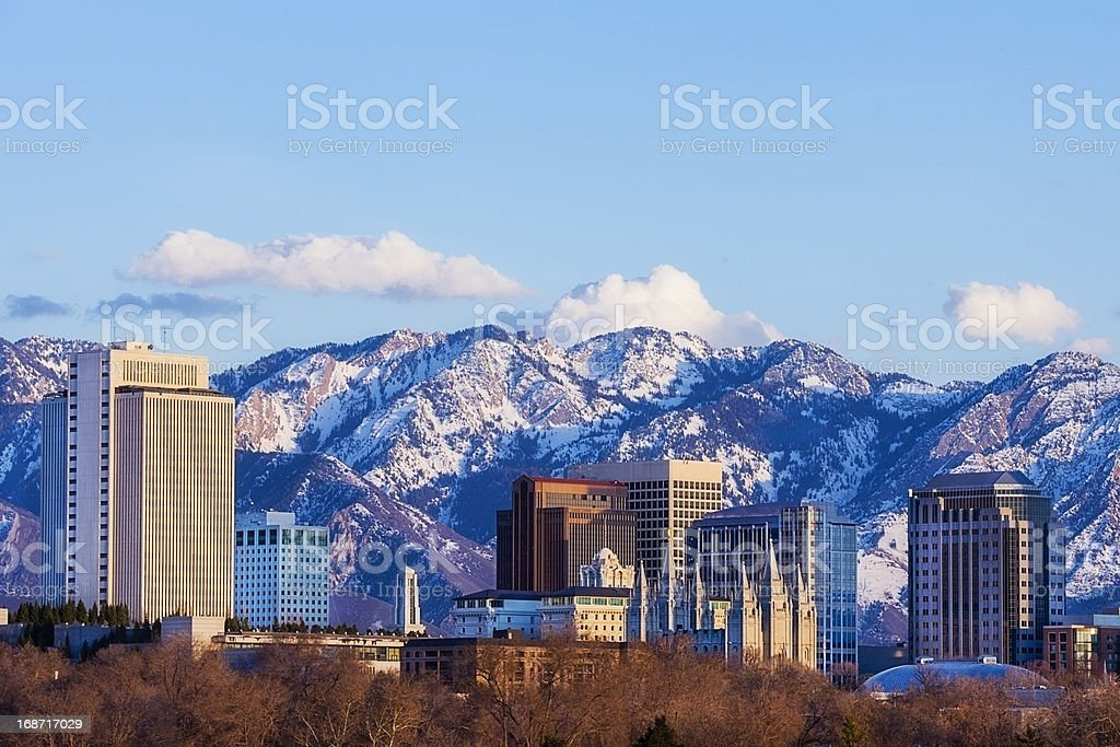 Salt Lake City Skyline in Early Spring with Copy Space stock photo