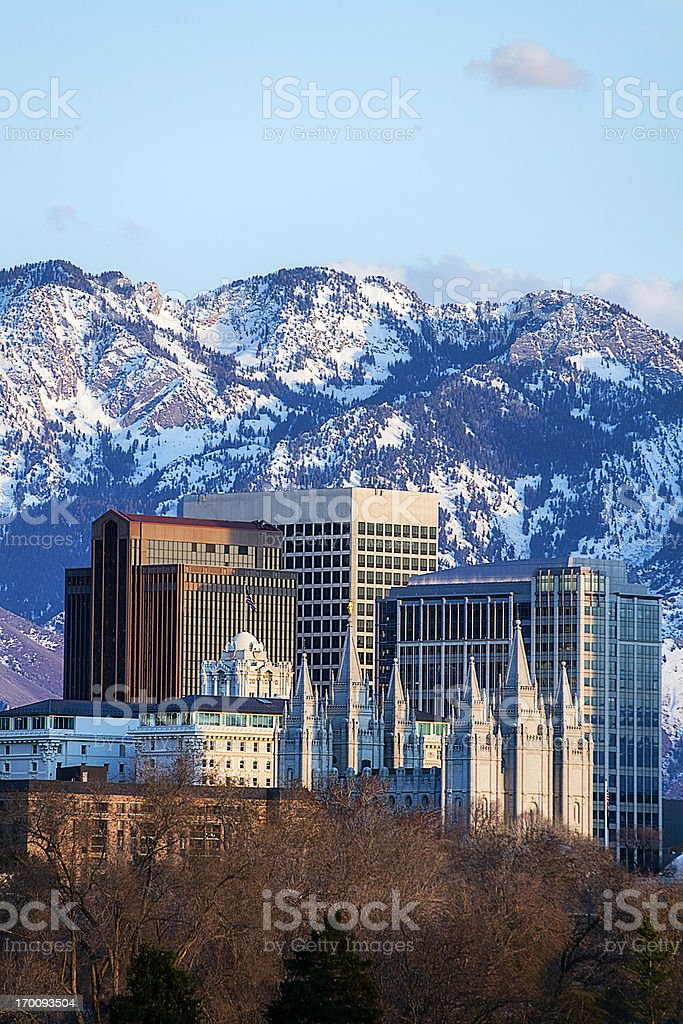 Salt Lake City skyline located downtown royalty-free stock photo