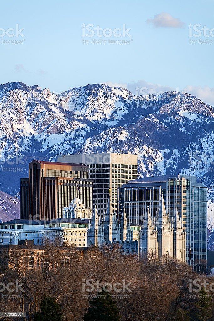 Salt Lake City skyline located downtown stock photo