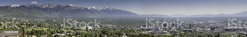 Salt Lake City super panorama Utah stock photo