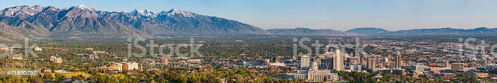 Salt Lake City super sunset panorama cityscape and mountains Utah stock photo