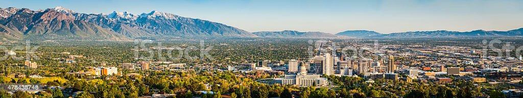 Salt Lake City sweeping panoramic vista across downtown mountains Utah stock photo