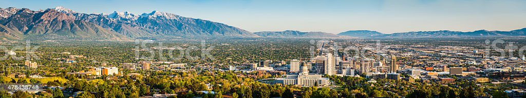 Salt Lake City sweeping panoramic vista across downtown mountains Utah stock photo