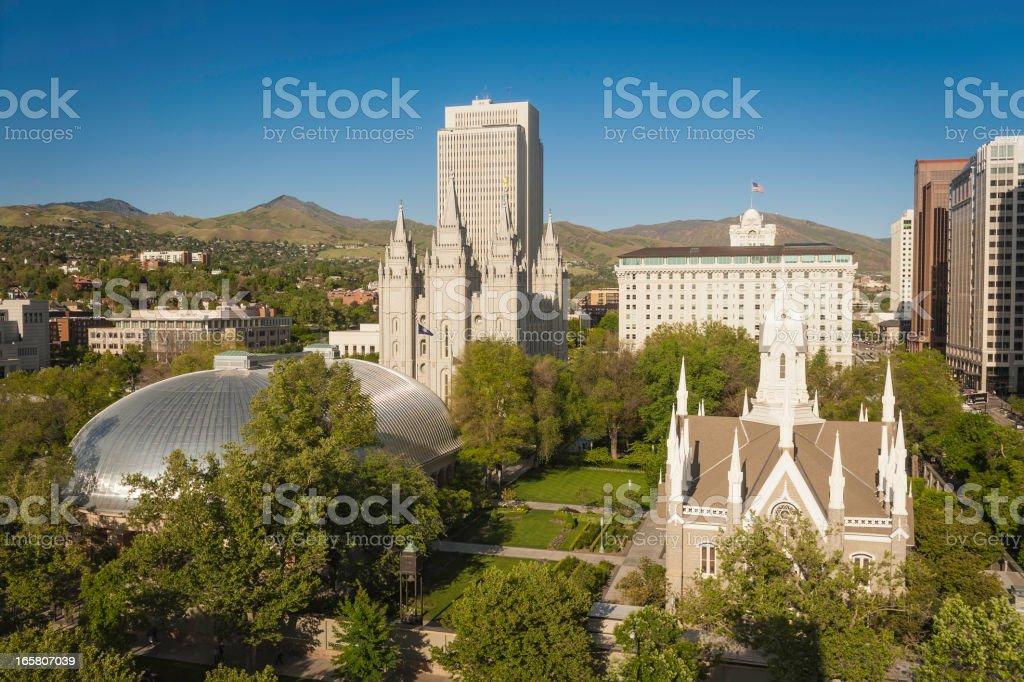 Salt Lake City Temple Square historic landmarks Utah stock photo