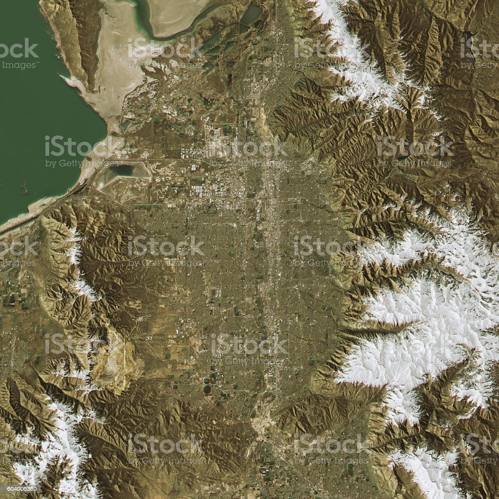 Salt Lake City Topographic Map Natural Color Top View stock photo