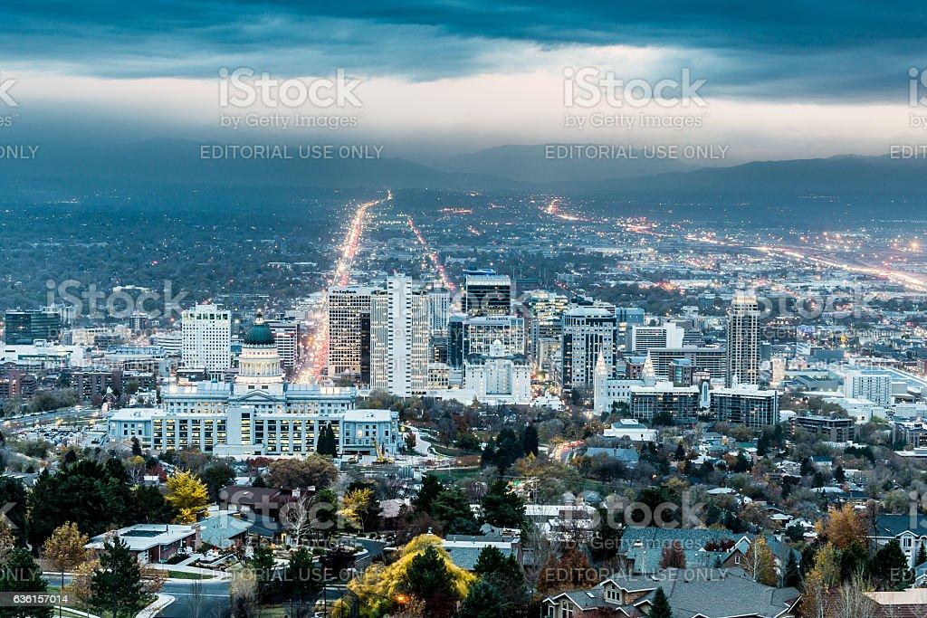 Salt Lake City Twilight stock photo
