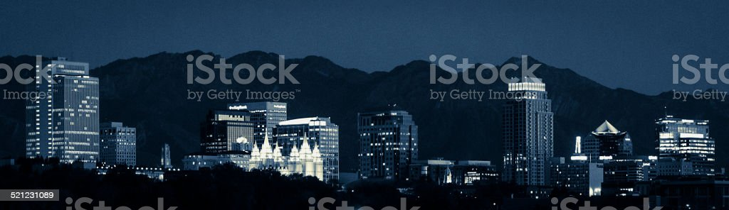 Salt Lake City Utah Skyline at night stock photo