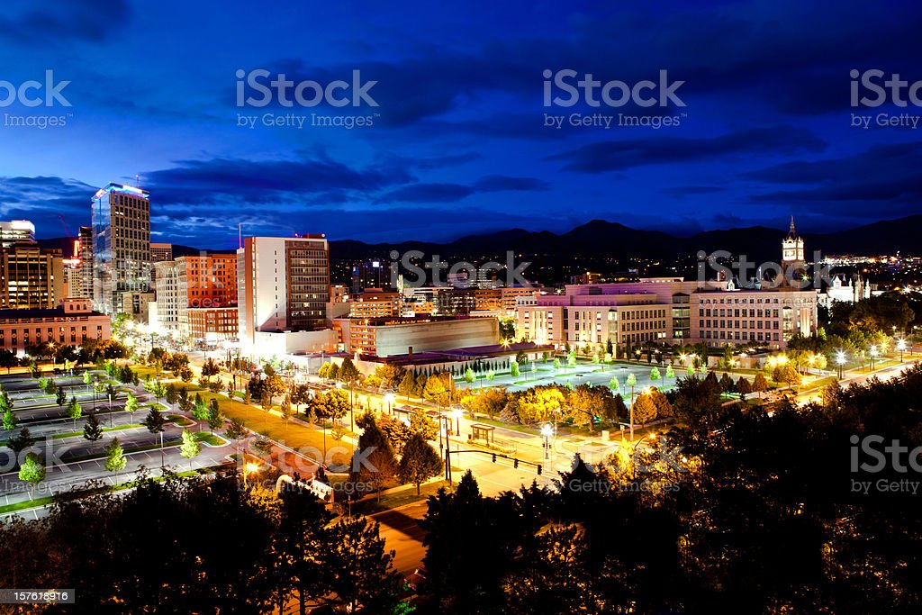 Salt Lake City Utah Skyline golden hour stock photo