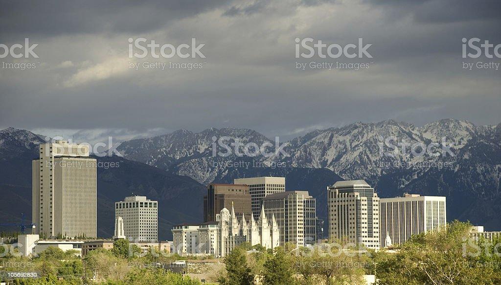 Salt Lake City, Utah Skyline with a Storm Approaching stock photo