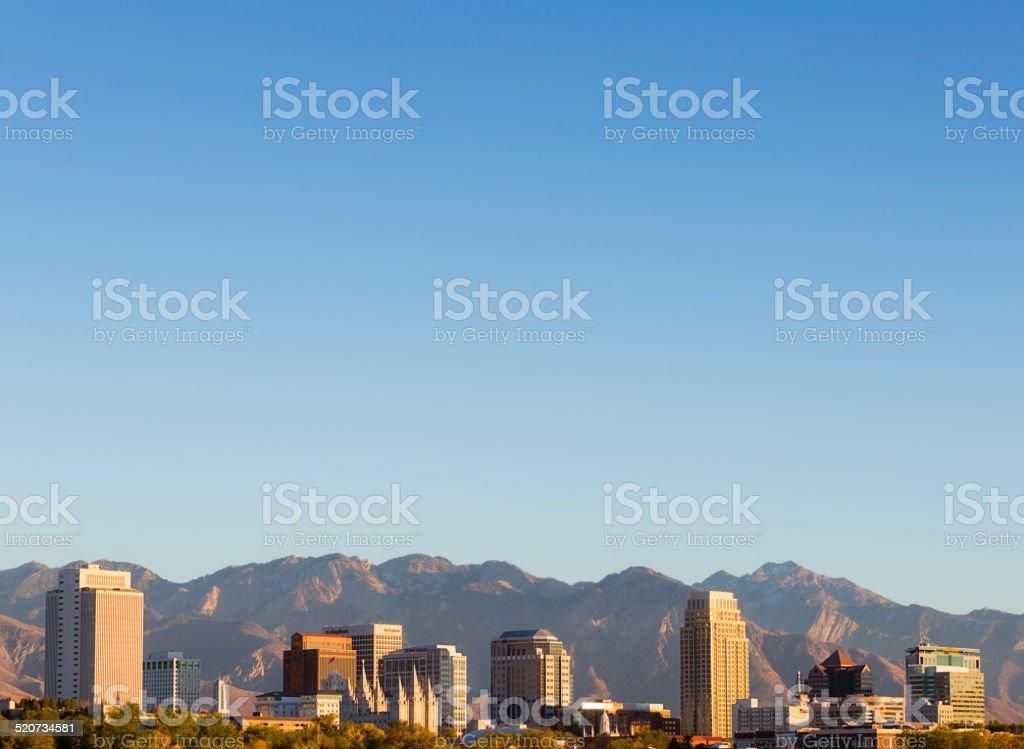 Salt Lake City Utah Skyline with lots of sky stock photo