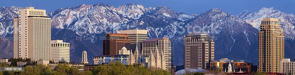 Salt Lake City Utah USA Skyline High Rise Mountain Panorama stock photo