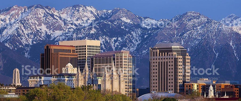Salt Lake City Web Pop-under Skyline Panorama with Copy Space stock photo