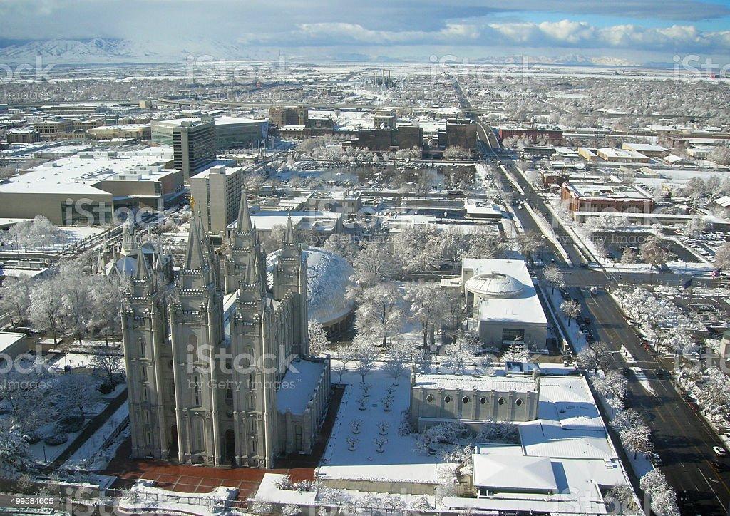 Salt Lake City Winter Scene stock photo