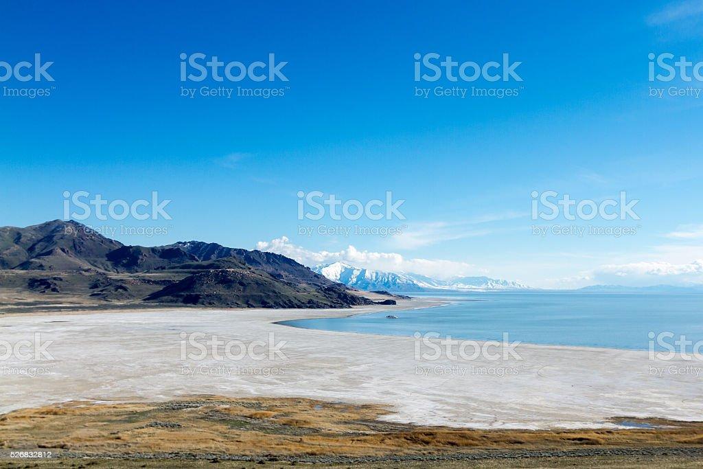 Salt Lake from Antelope Island stock photo