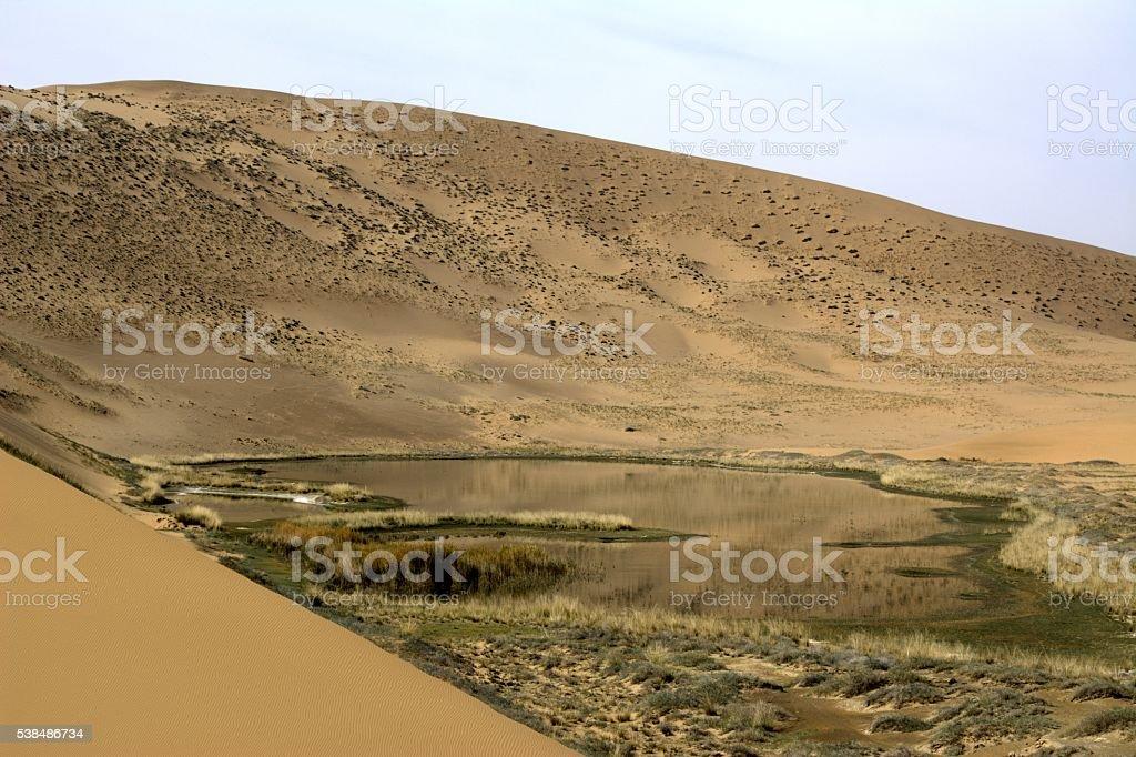 Salt lake in Badain Jaran desert, Inner Mongolia, China stock photo