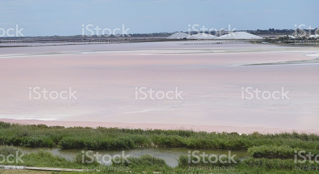 Salt lake near Aigues-Mortes. royalty-free stock photo