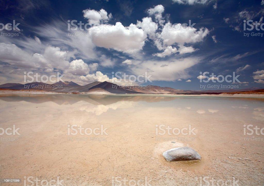 Salt lake, Salar de Altiplano - Atacama, Chile stock photo