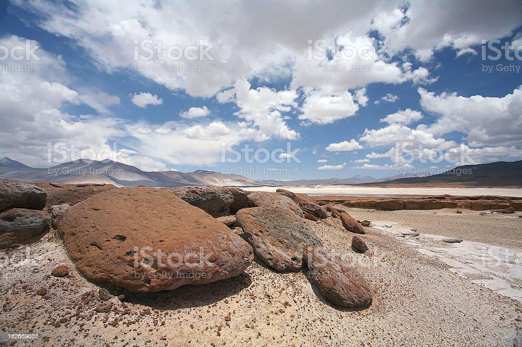 Salt lake, Salar de Altiplano - Atacama, Chile royalty-free stock photo