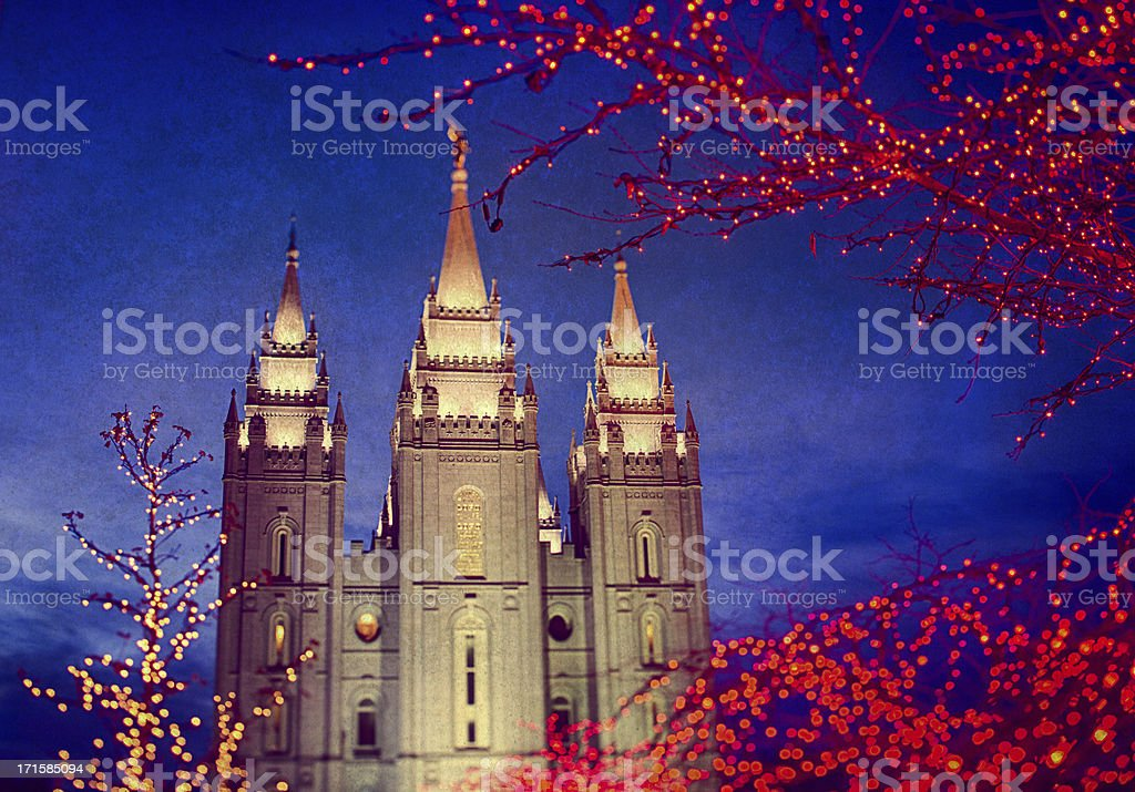 Salt Lake Temple Christmas stock photo