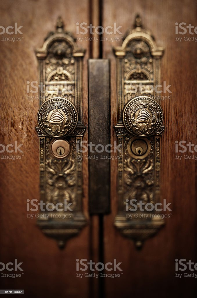 Salt Lake Temple Doorknobs stock photo