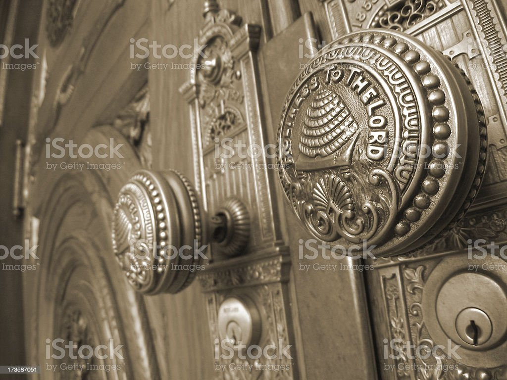 Salt Lake Temple Doorknobs / Sepia stock photo