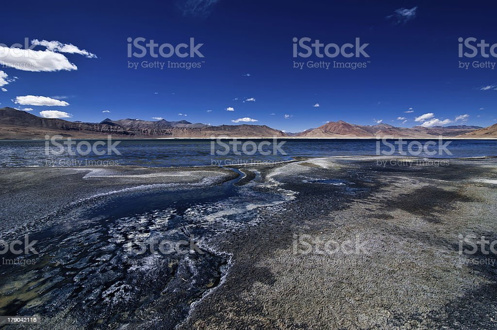 Salt lake Tso Kar. Himalaya mountains landscape royalty-free stock photo
