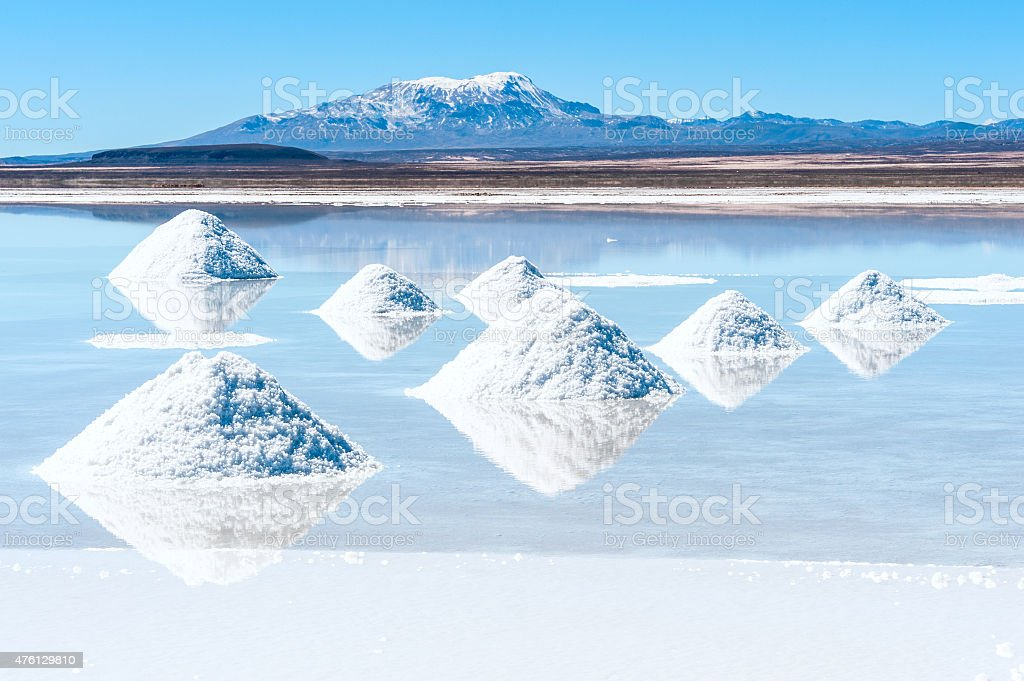 Salt lake Uyuni in Bolivia stock photo