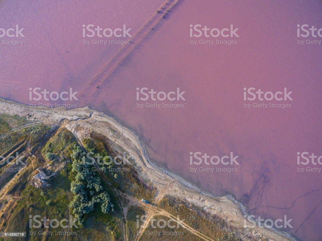 Salt lake with coastal salt marshes, aerial view stock photo