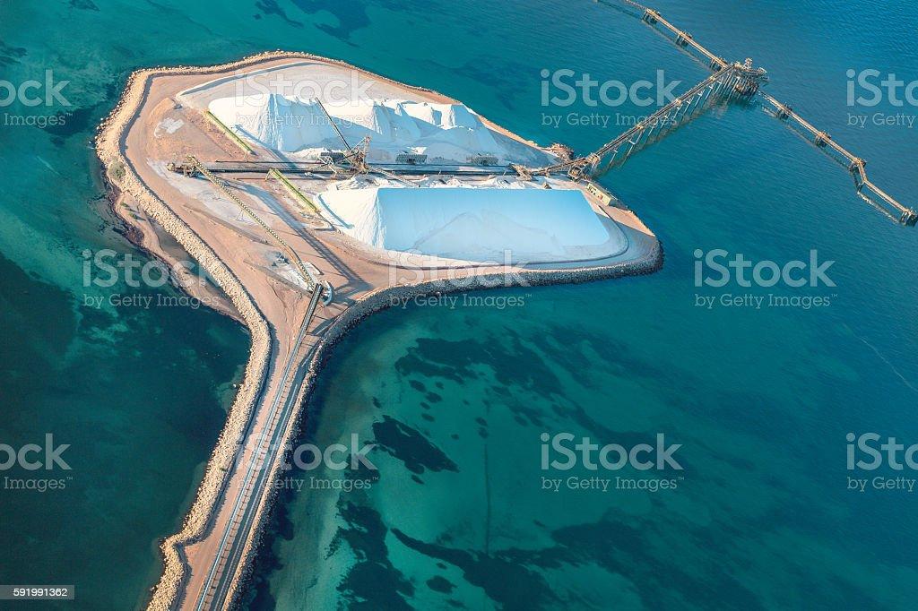Salt Loading Facility at Shark Bay viewed from Above stock photo