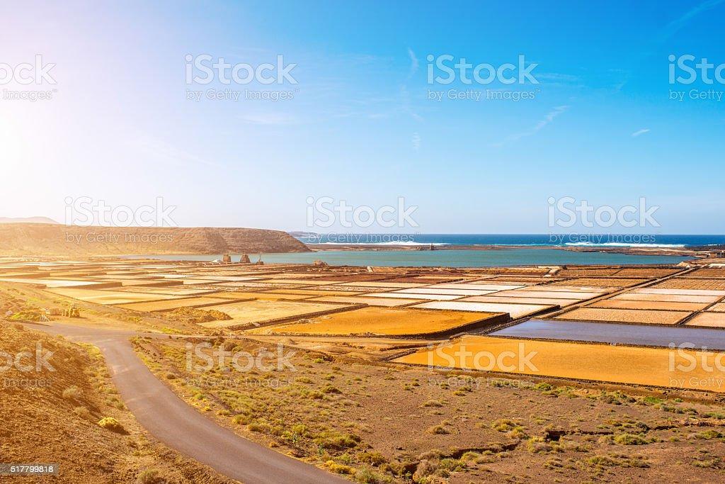Salt manufacturing on Lanzarote island in Spain stock photo