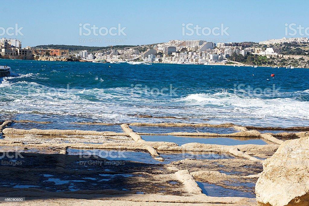 Miniere di sale di Buġibba, Malta foto stock royalty-free