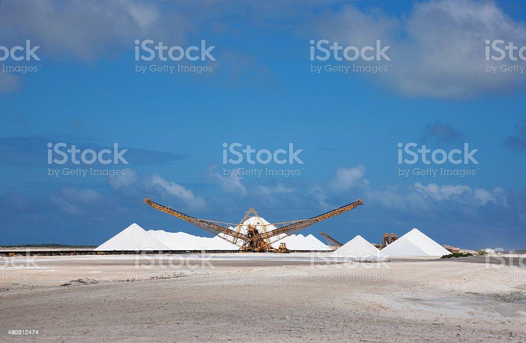 Salt mining on Bonaire stock photo