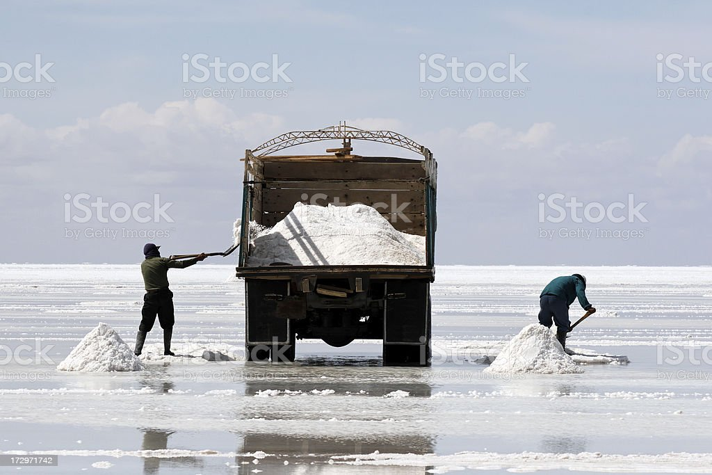 Salt mining stock photo