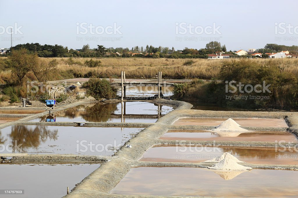 salt mounds on open pan factory in France stock photo