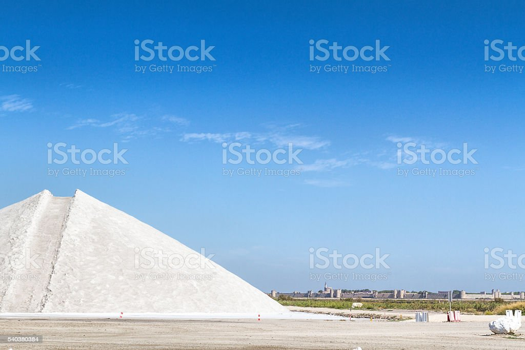 Salt mountain in a Saline - Aigues-Mortes - France stock photo