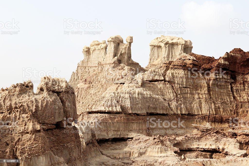 Salt mountains of Dallol volcano, Danakil Depression, Ethiopia stock photo