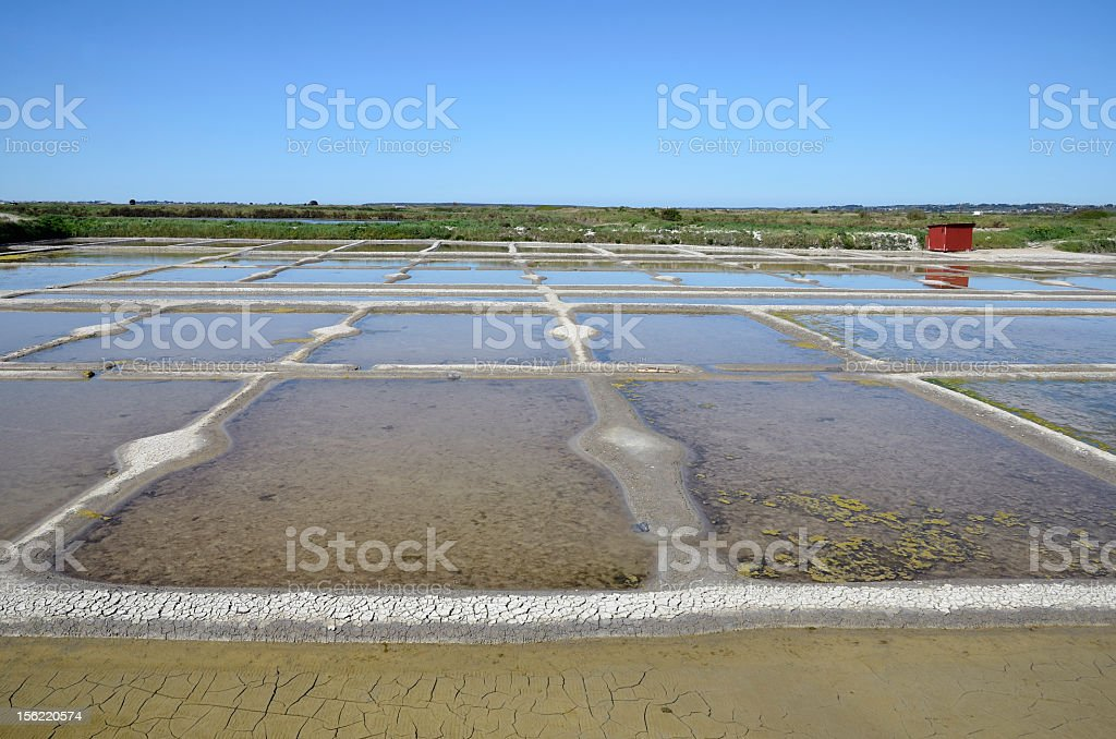 Salt pan at Guérande in France stock photo