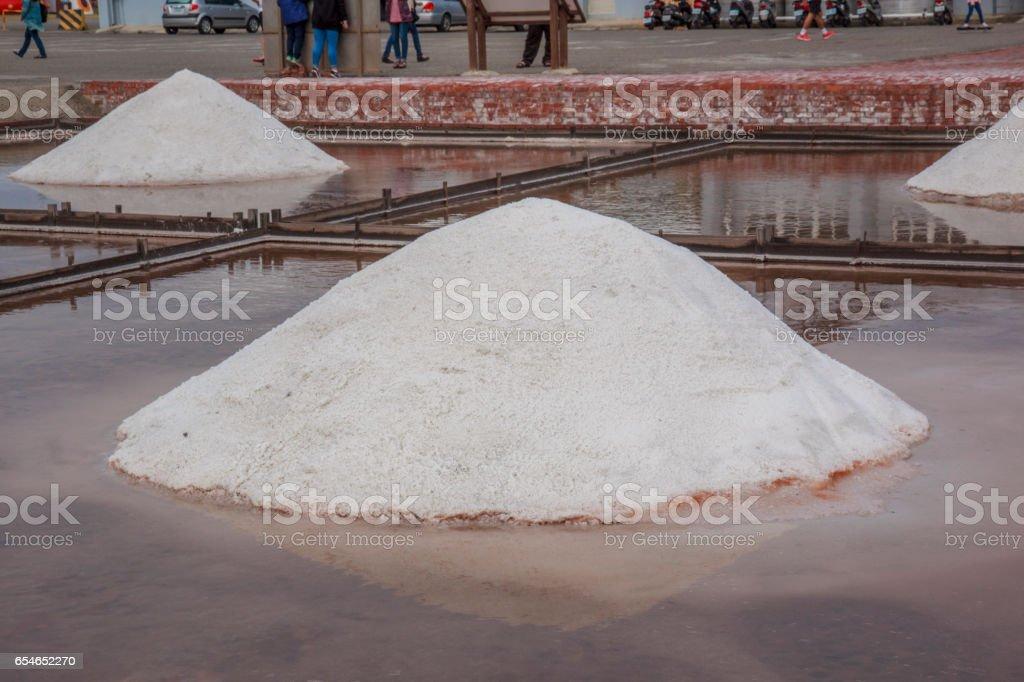 salt pan in Qigu Salt   Mountain, Taiwan stock photo