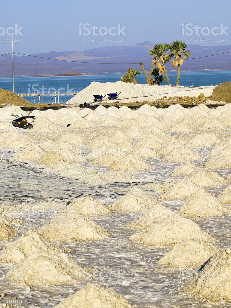 Salt pan stock photo