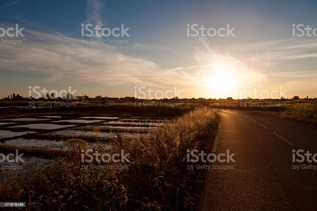 salt pans and road stock photo