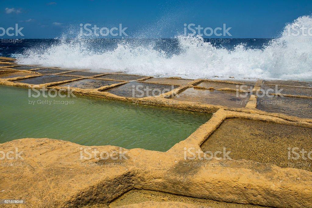 Salt pans on Xwejni bay - Maltese island Gozo stock photo