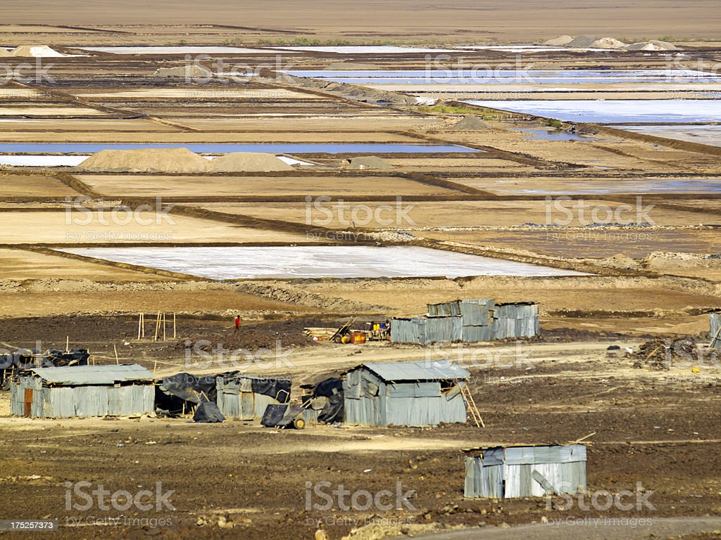 Salt pans stock photo